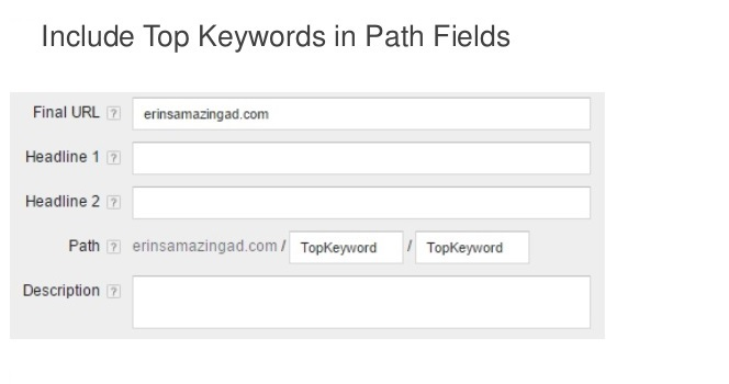 insert top keywords in path-fields