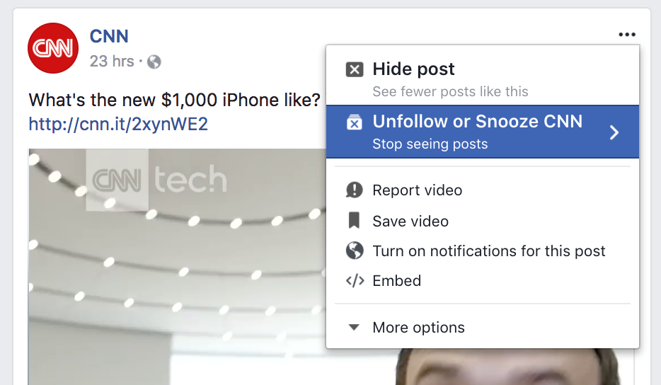 Facebook Hit Snooze button